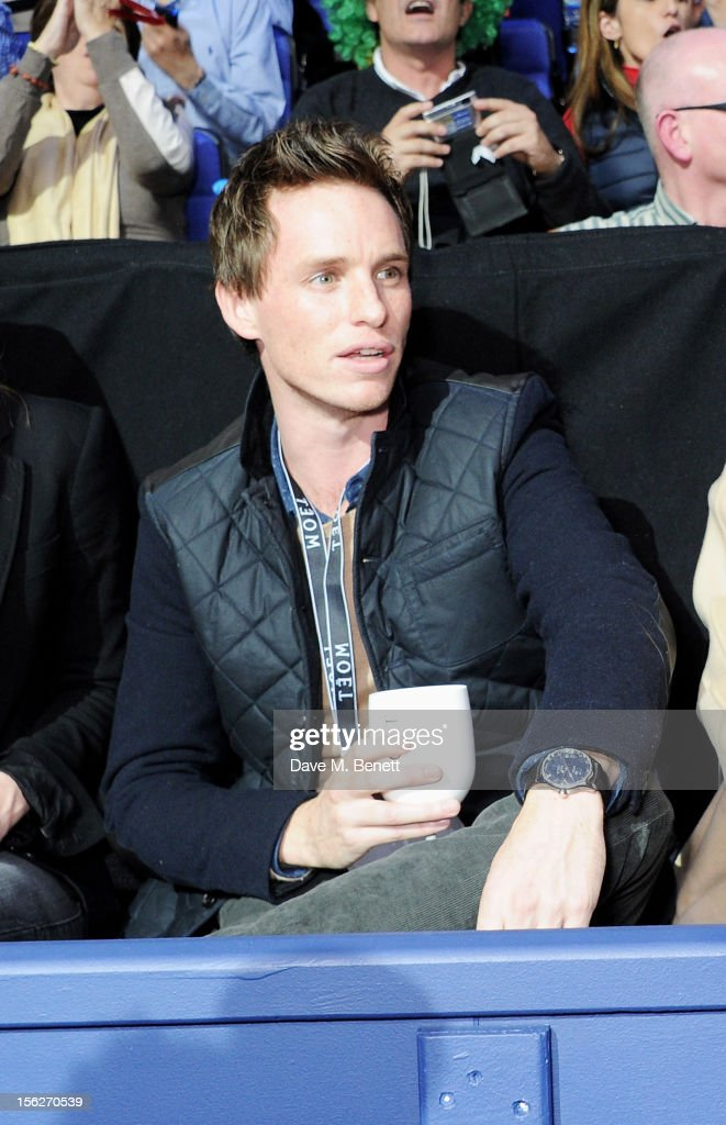 Actor <a gi-track='captionPersonalityLinkClicked' href=/galleries/search?phrase=Eddie+Redmayne&family=editorial&specificpeople=2554844 ng-click='$event.stopPropagation()'>Eddie Redmayne</a> attends the Moet & Chandon VIP Suite during day eight of the ATP World Finals at the O2 Arena on November 12, 2012 in London, England.