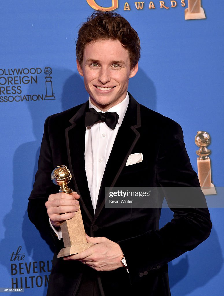 Actor Eddie Redmayne, winner of Best Performance in a Motion Picture - Drama for 'The Theory of Everything,' poses in the press room during the 72nd Annual Golden Globe Awards at The Beverly Hilton Hotel on January 11, 2015 in Beverly Hills, California.