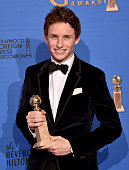 Actor Eddie Redmayne winner of Best Performance in a Motion Picture Drama for 'The Theory of Everything' poses in the press room during the 72nd...