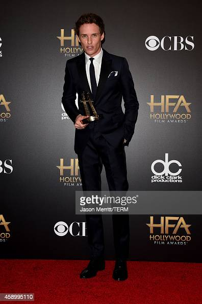 Actor Eddie Redmayne winner of Hollywood Breakout Performance for 'The Theory of Everything' poses in the press room during the 18th Annual Hollywood...