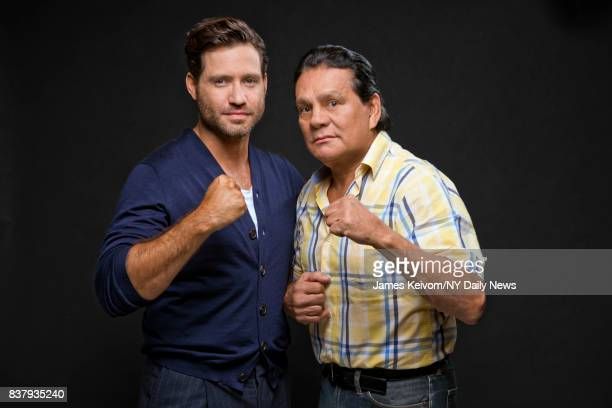 Actor Edgar Ramerez with boxer Roberto Duran photographed for NY Daily News on August 4 in New York City