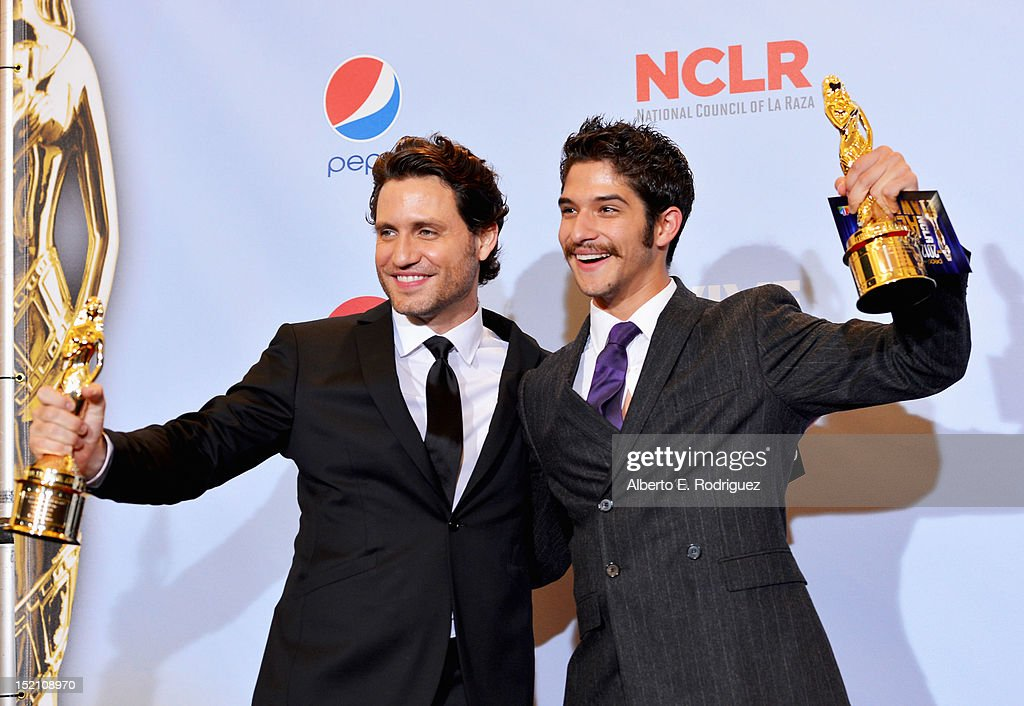Actor Edgar Ramirez and actor <a gi-track='captionPersonalityLinkClicked' href=/galleries/search?phrase=Tyler+Posey&family=editorial&specificpeople=3201481 ng-click='$event.stopPropagation()'>Tyler Posey</a> pose in the press room during the 2012 NCLR ALMA Awards at Pasadena Civic Auditorium on September 16, 2012 in Pasadena, California.