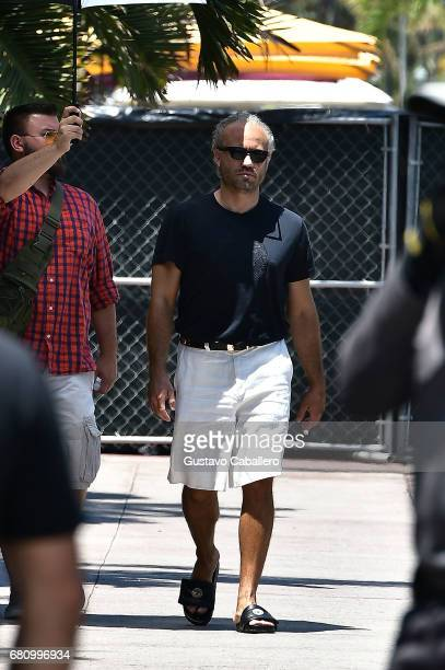 Actor Edgar Ramirez plays Gianni Versace filmimg American crime story on May 9 2017 in Miami Beach Florida