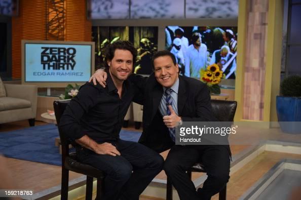 Actor Edgar Ramirez visits 'Despierta America' with host Raul Gonzalez to promote 'Zero Dark Thirty' on January 09 2013 in Miami Florida