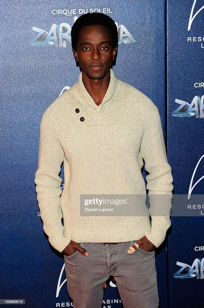 Actor Edi Gathegi arrives at the Las Vegas premiere of 'Zarkana by Cirque du Soleil' at the Aria Resort & Casino at CityCenter on November 9, 2012 in Las Vegas, Nevada.
