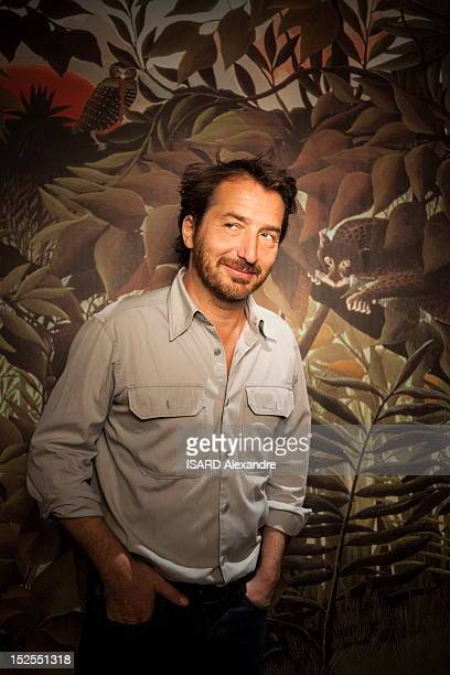 Actor Edouard Baer currently performing in 'A la Francaise' and actor in the movie 'Asterix et Obelix Au Service De Sa Majeste' poses in the Marigny...