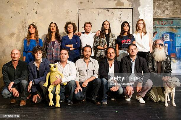 Actor Edouard Baer currently performing in 'A la Francaise' and actor in the movie 'Asterix et Obelix Au Service De Sa Majeste' poses with his troupe...