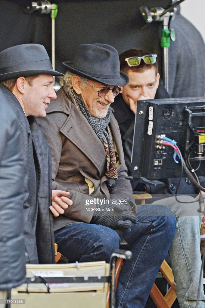 Actor Edward Burns and director Steven Spielberg are seen on March 6, 2014 in New York City.