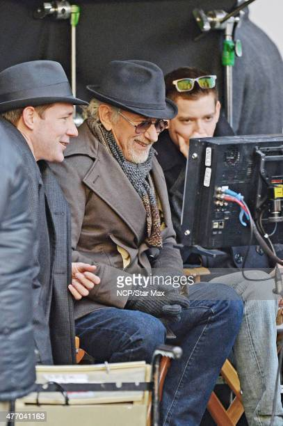 Actor Edward Burns and director Steven Spielberg are seen on March 6 2014 in New York City