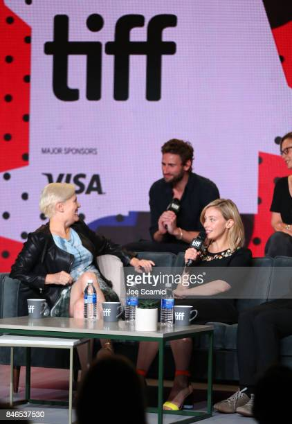 Actor Edward Holcroft director Mary Harron and actress Sarah Gadon attend 'Alias Grace' Press Conference during the 2017 Toronto International Film...
