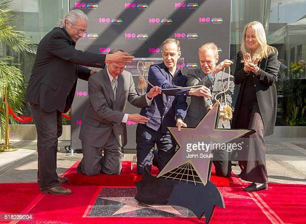 Actor Edward James Olmos Hollywood Chamber of Commerce President and CEO Leron Gubler Technicolor CEO Frederic Rose President of the American Society...