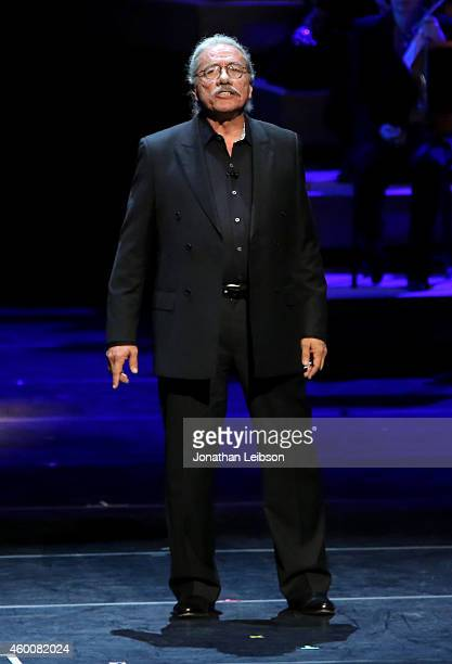 Actor Edward James Olmos performs onstage during The Music Center's 50th Anniversary Spectacular at The Music Center on December 6 2014 in Los...