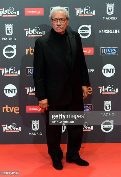 US actor Edward James Olmos poses on the red carpet during the 4th edition of the 'Premios Platino' for IberoAmerican Cinema awards ceremony in...