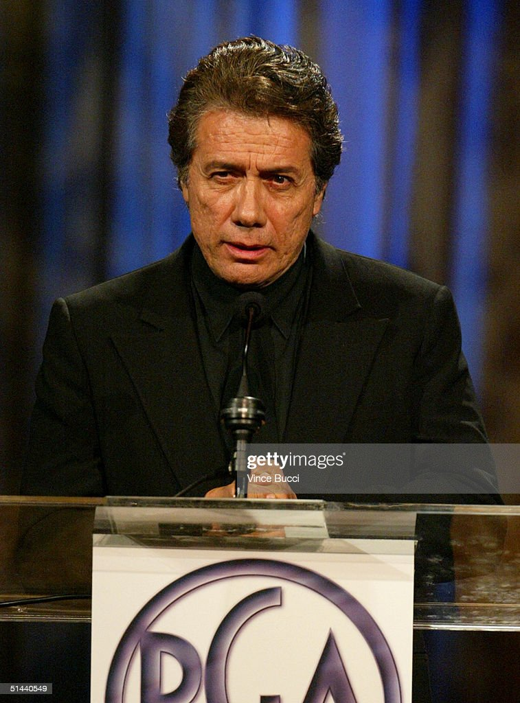 Actor Edward James Olmos presents Gordan Davidson with an award onstage during The Producers Guild of America's 3rd Annual Celebration of Diversity...
