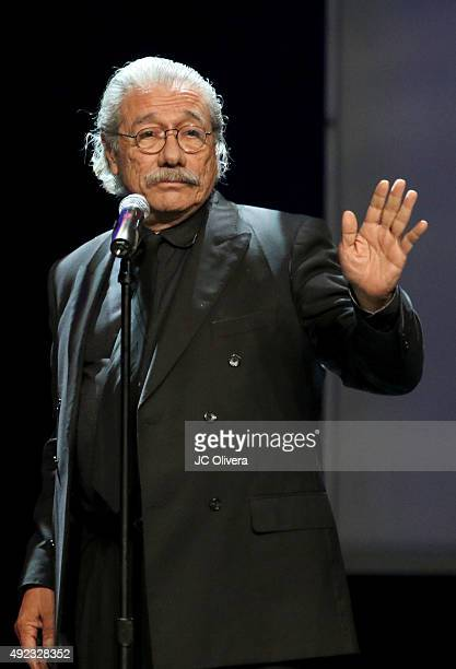 Actor Edward James Olmos speaks onstage during The Los Angeles Times and Hoy 2015 Latinos de Hoy Awards at Dolby Theatre on October 11 2015 in...
