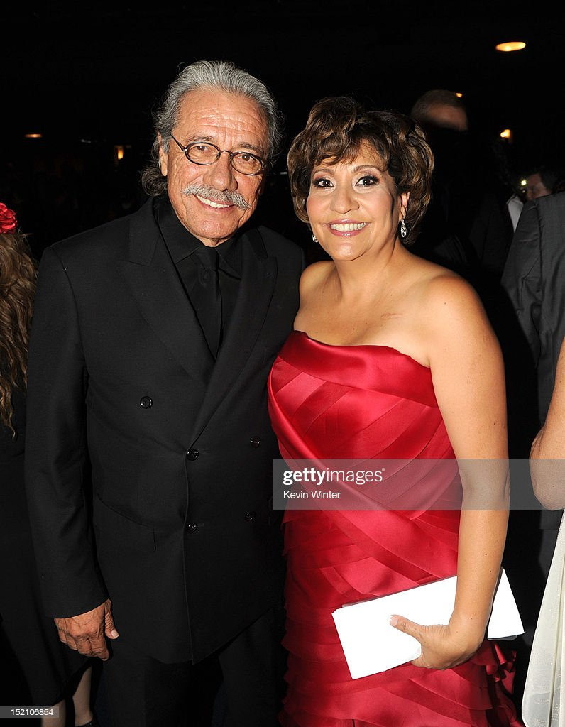 Actor <a gi-track='captionPersonalityLinkClicked' href=/galleries/search?phrase=Edward+James+Olmos&family=editorial&specificpeople=213817 ng-click='$event.stopPropagation()'>Edward James Olmos</a>t (L) and President & CEO NCLR <a gi-track='captionPersonalityLinkClicked' href=/galleries/search?phrase=Janet+Murguia&family=editorial&specificpeople=646135 ng-click='$event.stopPropagation()'>Janet Murguia</a> pose in the audience during the 2012 NCLR ALMA Awards at Pasadena Civic Auditorium on September 16, 2012 in Pasadena, California.