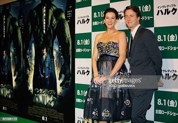 US actor Edward Norton and actress Liv Tyler pose for photographers on the 'green' carpet before the Japan premiere of their new movie 'the...