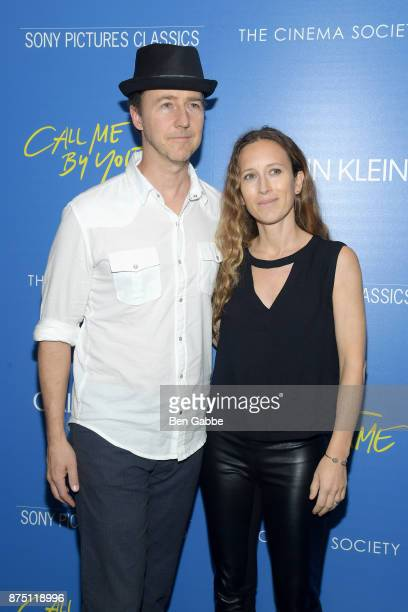 Actor Edward Norton and film producer Shauna Robertson attend The Cinema Society screening of Sony Pictures Classics' 'Call Me By Your Name' at...