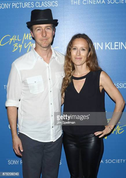 Actor Edward Norton and film producer Shauna Robertson attends the screening of Sony Pictures Classics' 'Call Me By Your Name' hosted by Calvin Klein...