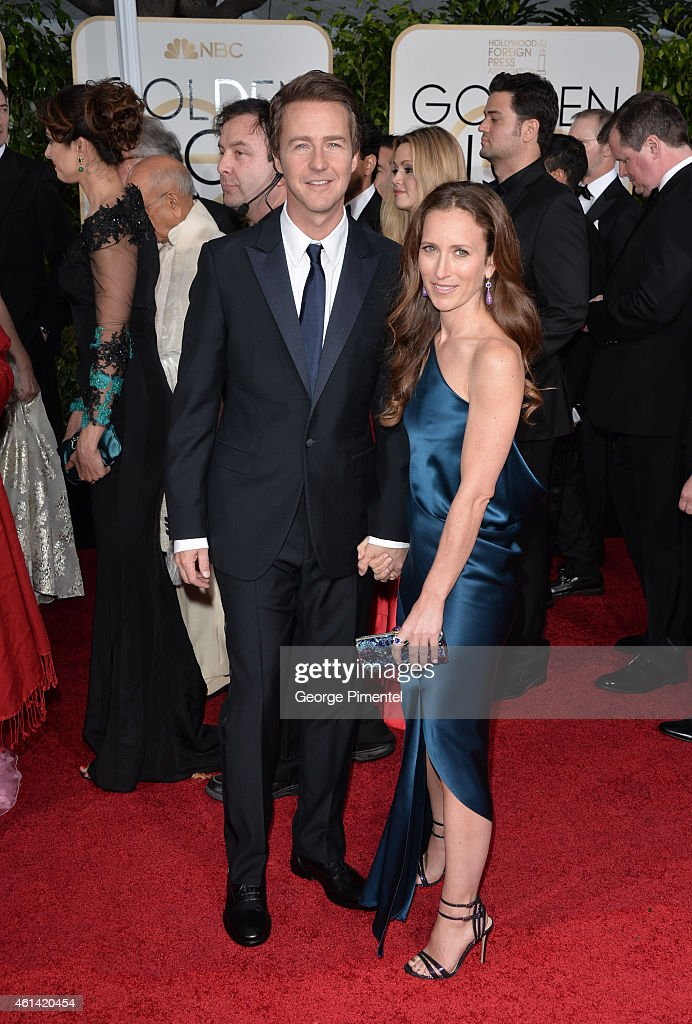 Actor Edward Norton (L) and Shauna Robertson attends the 72nd Annual Golden Globe Awards at The Beverly Hilton Hotel on January 11, 2015 in Beverly Hills, California.