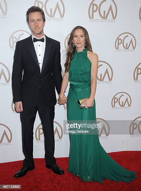 Actor Edward Norton and wife Shauna Robertson arrive at the 26th Annual Producers Guild Of America Awards at the Hyatt Regency Century Plaza on...