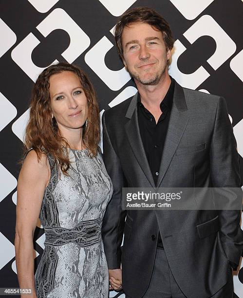 Actor Edward Norton and wife Shauna Robertson attend Diane Von Furstenberg's 'Journey Of A Dress' Premiere Opening Party at Wilshire May Company...