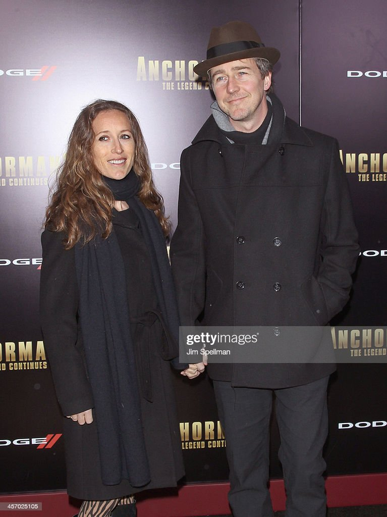 Actor <a gi-track='captionPersonalityLinkClicked' href=/galleries/search?phrase=Edward+Norton&family=editorial&specificpeople=210580 ng-click='$event.stopPropagation()'>Edward Norton</a> (R) and wife Shauna Robertson attend the 'Anchorman 2: The Legend Continues' U.S. premiere at Beacon Theatre on December 15, 2013 in New York City.