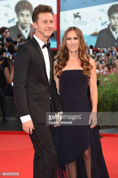 Actor Edward Norton and wife Shauna Robertson attend the Opening Ceremony and 'Birdman' premiere during the 71st Venice Film Festival at Palazzo Del...