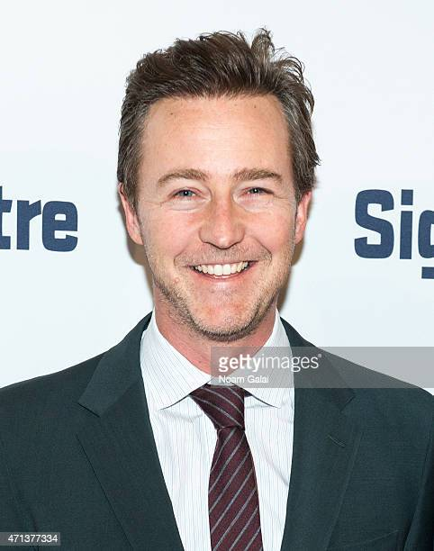 Actor Edward Norton attends the 2015 Signature Theatre Gala at The Signature Center on April 27 2015 in New York City
