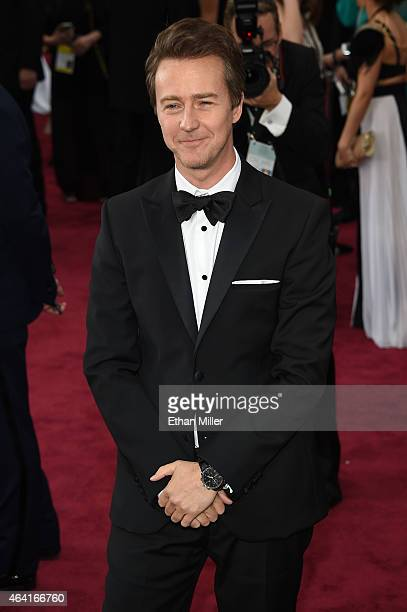Actor Edward Norton attends the 87th Annual Academy Awards at Hollywood Highland Center on February 22 2015 in Hollywood California