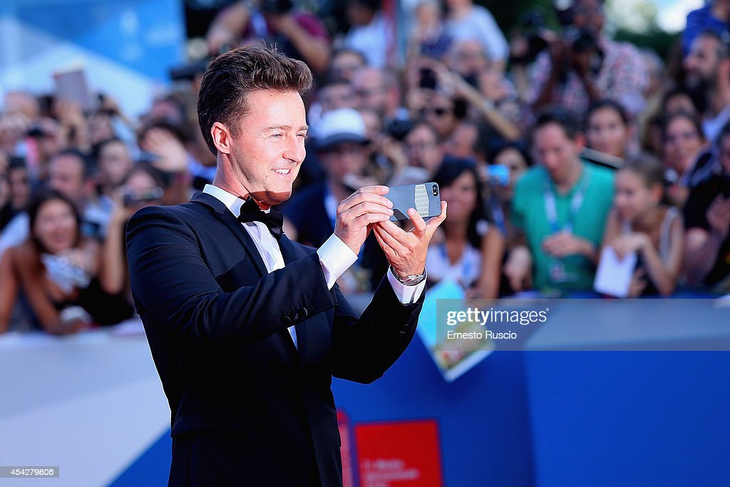 Actor Edward Norton attends the 'Birdman' premiere during the 71st Venice Film Festival at Palazzo Del Cinema on August 27, 2014 in Venice, Italy.