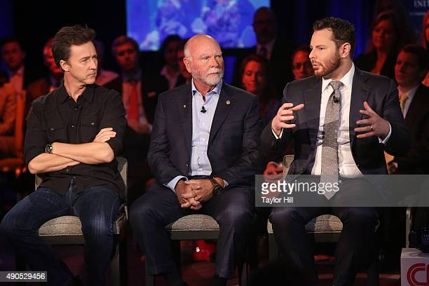 Actor Edward Norton genome sequencer J Craig Venter and venture capitalist Sean Parker speak during the 2015 Clinton Global Initiative Annual Meeting...