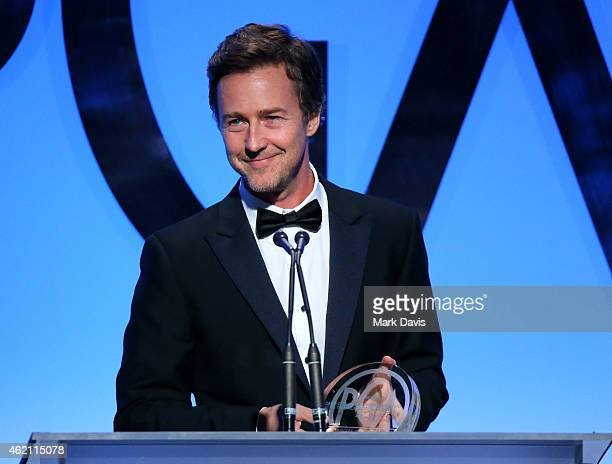 Actor Edward Norton speaks onstage during the 26th Annual Producers Guild Of America Awards at the Hyatt Regency Century Plaza on January 24 2015 in...
