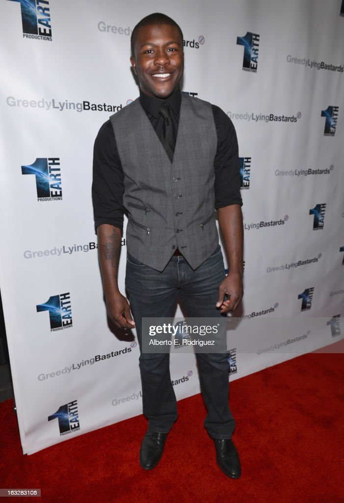 Actor Edwin Hodge attend a screening of 1 Earth Productions' 'Greedy Lying Bastards' at Harmony Gold Theatre on March 6, 2013 in Los Angeles, California.