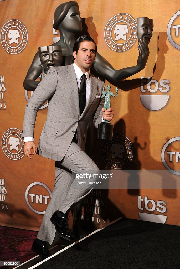 Actor <a gi-track='captionPersonalityLinkClicked' href=/galleries/search?phrase=Eli+Roth&family=editorial&specificpeople=543948 ng-click='$event.stopPropagation()'>Eli Roth</a> poses with the Cast In A Motion Picture award for 'Inglourious Basterds' in the press room at the 16th Annual Screen Actors Guild Awards held at the Shrine Auditorium on January 23, 2010 in Los Angeles, California.
