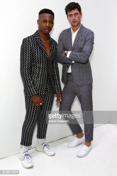 Actor Elijah Boothe and model Sean O'Pry attend the EFM Engineered For Motion Spring/Summer 2018 Runway Show at Skylight Clarkson Square on July 12...