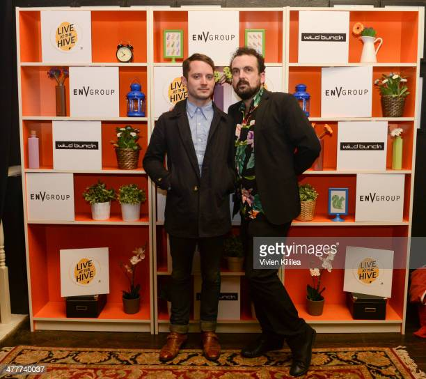 Actor Elijah Wood and director Nacho Vigalondo attend the Open Windows Premiere Party Presented By EnV Group And Wild Bunch At The Hive on March 10...