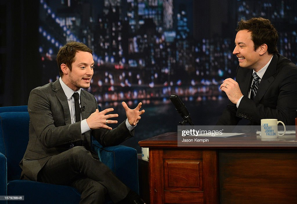 Actor <a gi-track='captionPersonalityLinkClicked' href=/galleries/search?phrase=Elijah+Wood&family=editorial&specificpeople=171364 ng-click='$event.stopPropagation()'>Elijah Wood</a> and host <a gi-track='captionPersonalityLinkClicked' href=/galleries/search?phrase=Jimmy+Fallon&family=editorial&specificpeople=171520 ng-click='$event.stopPropagation()'>Jimmy Fallon</a> visit 'Late Night With <a gi-track='captionPersonalityLinkClicked' href=/galleries/search?phrase=Jimmy+Fallon&family=editorial&specificpeople=171520 ng-click='$event.stopPropagation()'>Jimmy Fallon</a>' at Rockefeller Center on December 7, 2012 in New York City.