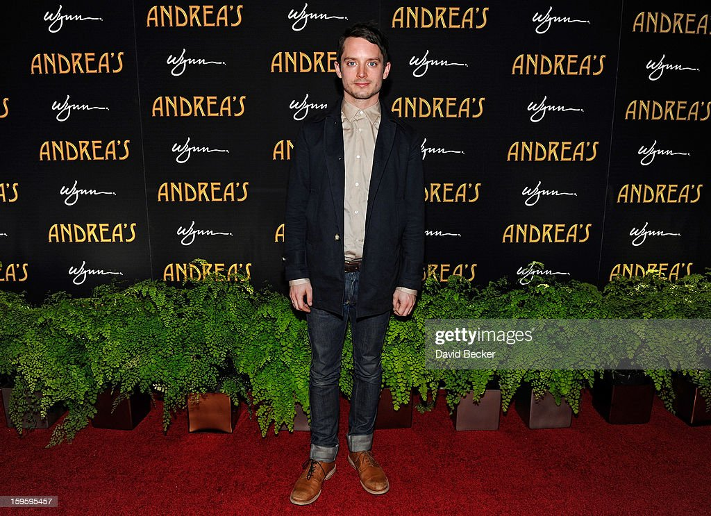 Actor <a gi-track='captionPersonalityLinkClicked' href=/galleries/search?phrase=Elijah+Wood&family=editorial&specificpeople=171364 ng-click='$event.stopPropagation()'>Elijah Wood</a> arrives for the grand opening celebration at Andrea's at the Wynn Las Vegas on January 16, 2013 in Las Vegas, Nevada.