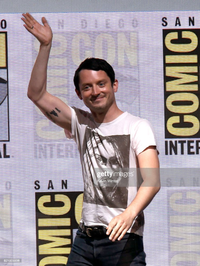 Actor Elijah Wood at Dirk Gently's Holistic Detective Agency: BBC America Official Panel during Comic-Con International 2017 at San Diego Convention Center on July 23, 2017 in San Diego, California.