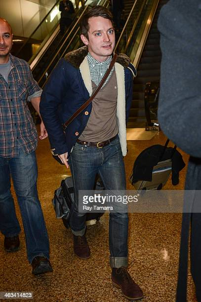 Actor Elijah Wood leaves the Salt Lake City Airport on January 16 2014 in Salt Lake City Utah
