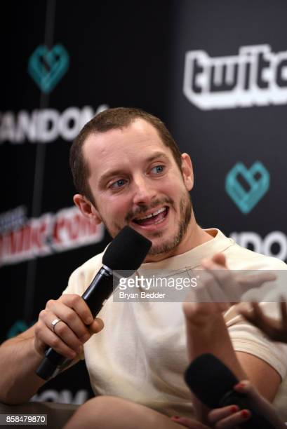 Actor Elijah Wood speaks onstage at the New York Comic Con Live Stage in partnership with FANDOM and Twitch on October 6 2017 in New York City