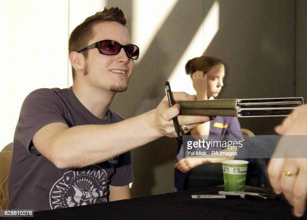 Actor Elijah Wood who plays Frodo in the Lord of the Rings movie trilogy during a signing session at the Collectormania 4 film festival and...