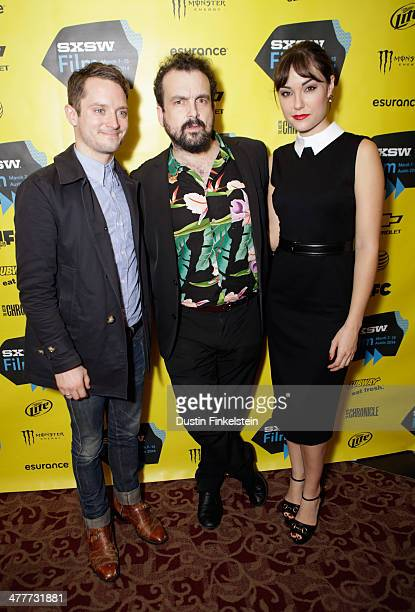 Actor Elijah Wood writer/director Nacho Vigalondo and actress Sasha Grey attend the 'Open Windows' Photo Op and QA during the 2014 SXSW Music Film...