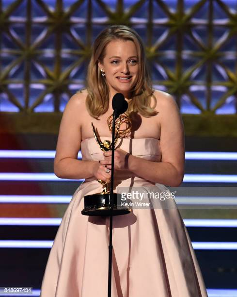 Actor Elisabeth Moss accepts Outstanding Lead Actress in a Drama Series for 'The Handmaid's Tale' onstage during the 69th Annual Primetime Emmy...