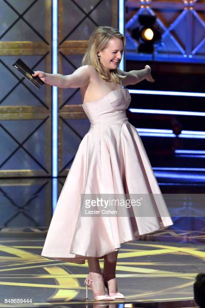 Actor Elisabeth Moss accepts the Outstanding Lead Actress in a Drama Series award for 'The Handmaid's Tale' onstage during the 69th Annual Primetime...