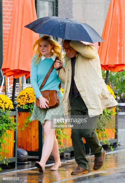 Actor Elle Fanning and Jude Law are seen on location for Woody Allen's untitled movie on October 19 2017 in New York City