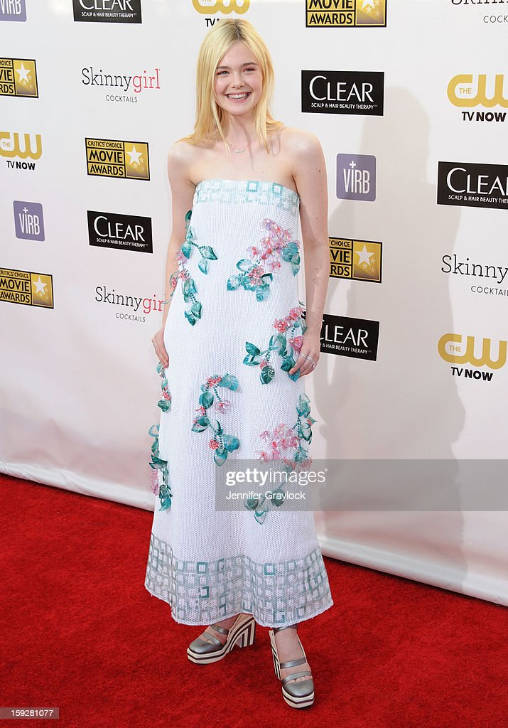 Actor Elle Fanning attends The 18th Annual Critics' Choice Awards Arrivals held at Barker Hangar on January 10, 2013 in Santa Monica, California.