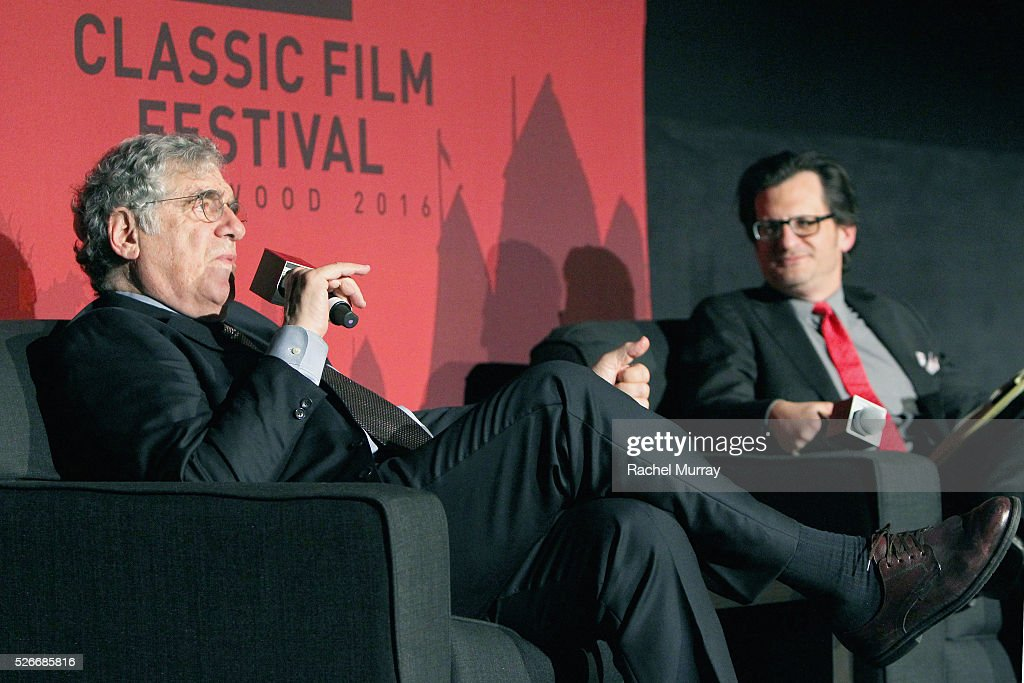 Actor <a gi-track='captionPersonalityLinkClicked' href=/galleries/search?phrase=Elliott+Gould&family=editorial&specificpeople=213079 ng-click='$event.stopPropagation()'>Elliott Gould</a> (L) and radio & TV personality <a gi-track='captionPersonalityLinkClicked' href=/galleries/search?phrase=Ben+Mankiewicz&family=editorial&specificpeople=678440 ng-click='$event.stopPropagation()'>Ben Mankiewicz</a> speak onstage at 'The Long Goodbye' screening during day 3 of the TCM Classic Film Festival 2016 on April 30, 2016 in Los Angeles, California. 25826_007
