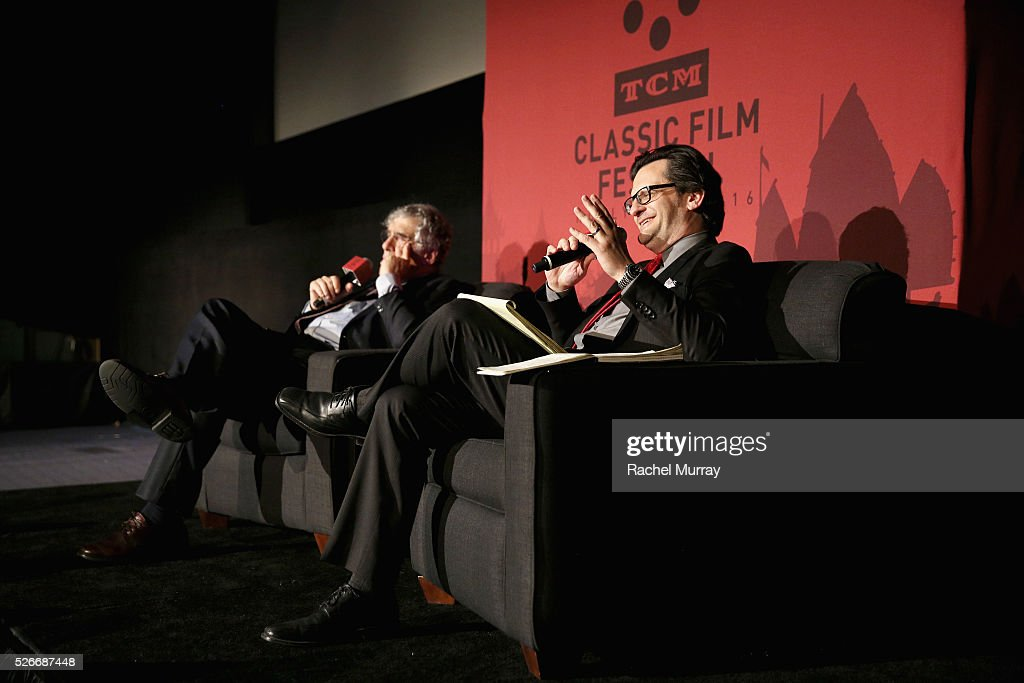 Actor Elliott Gould (L) and radio & TV personality Ben Mankiewicz speak onstage at 'The Long Goodbye' screening during day 3 of the TCM Classic Film Festival 2016 on April 30, 2016 in Los Angeles, California. 25826_007